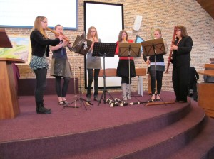 Flauto Nuovo Ensemble: Janke, Siebrich, Eke, Rianne, Esther en Dinie